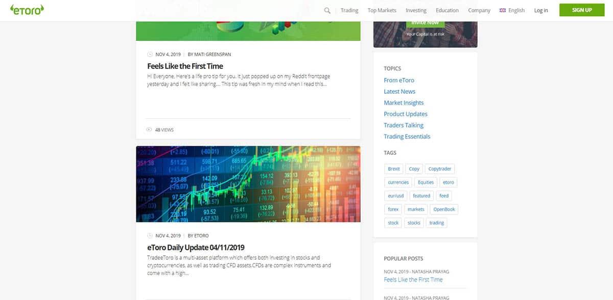eToro offers blog in various categories