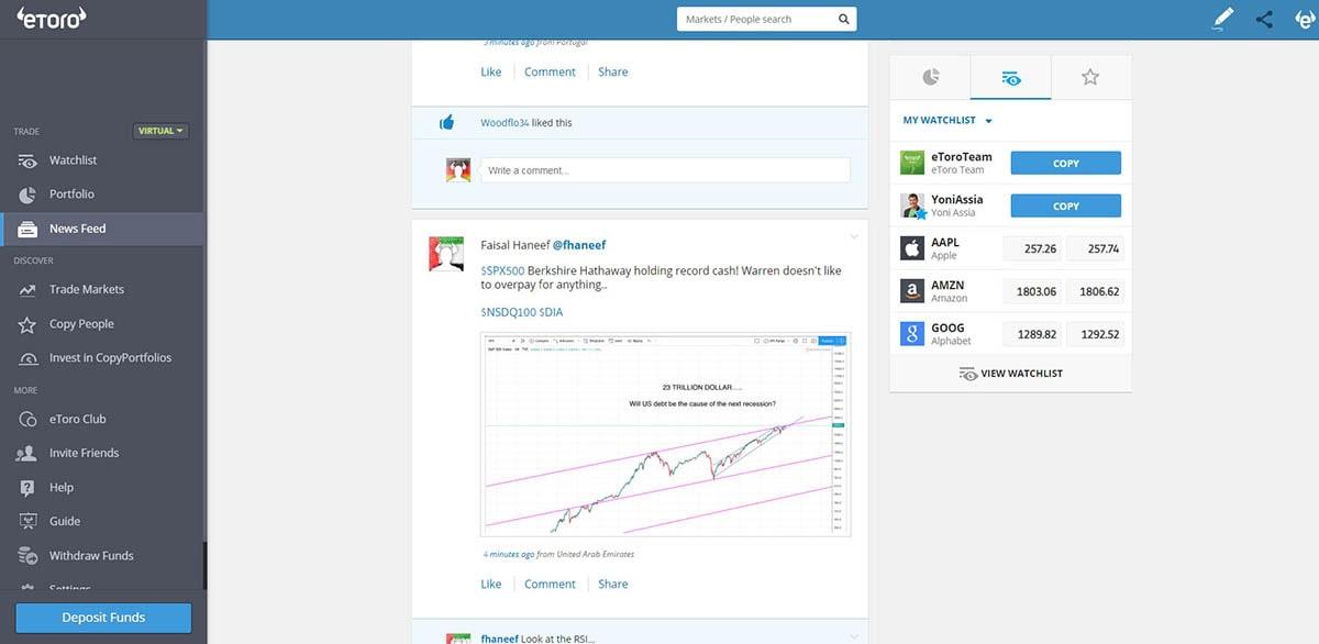 eToro - News Feed on the platform - screenshot