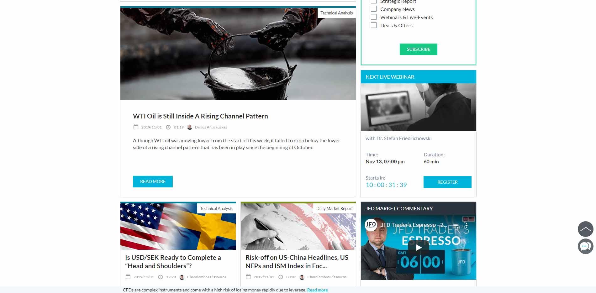 Screenshot of JFD blog. JFD offers extensive fundamental and technical market analysis