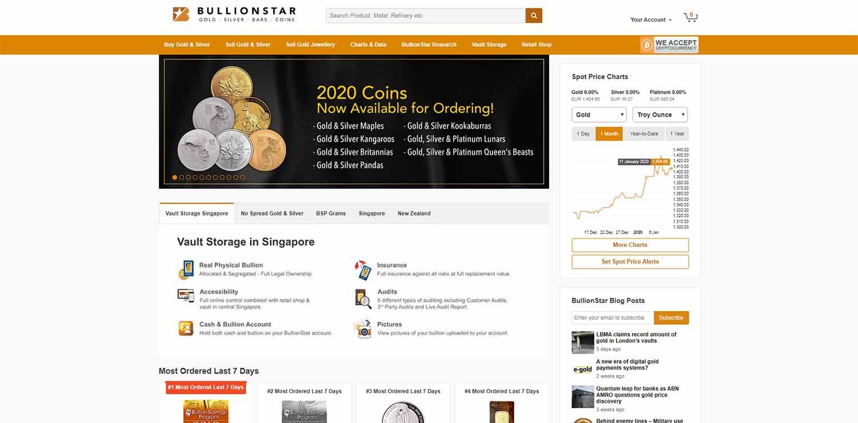 Bullionstar homepage screenshot 2020