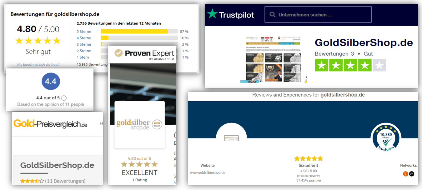 GoldSilberShop.de collage of reviews collected from the internet 2020