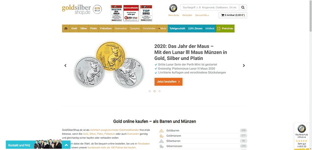 GoldSilberShop.de screenshot of the homepage