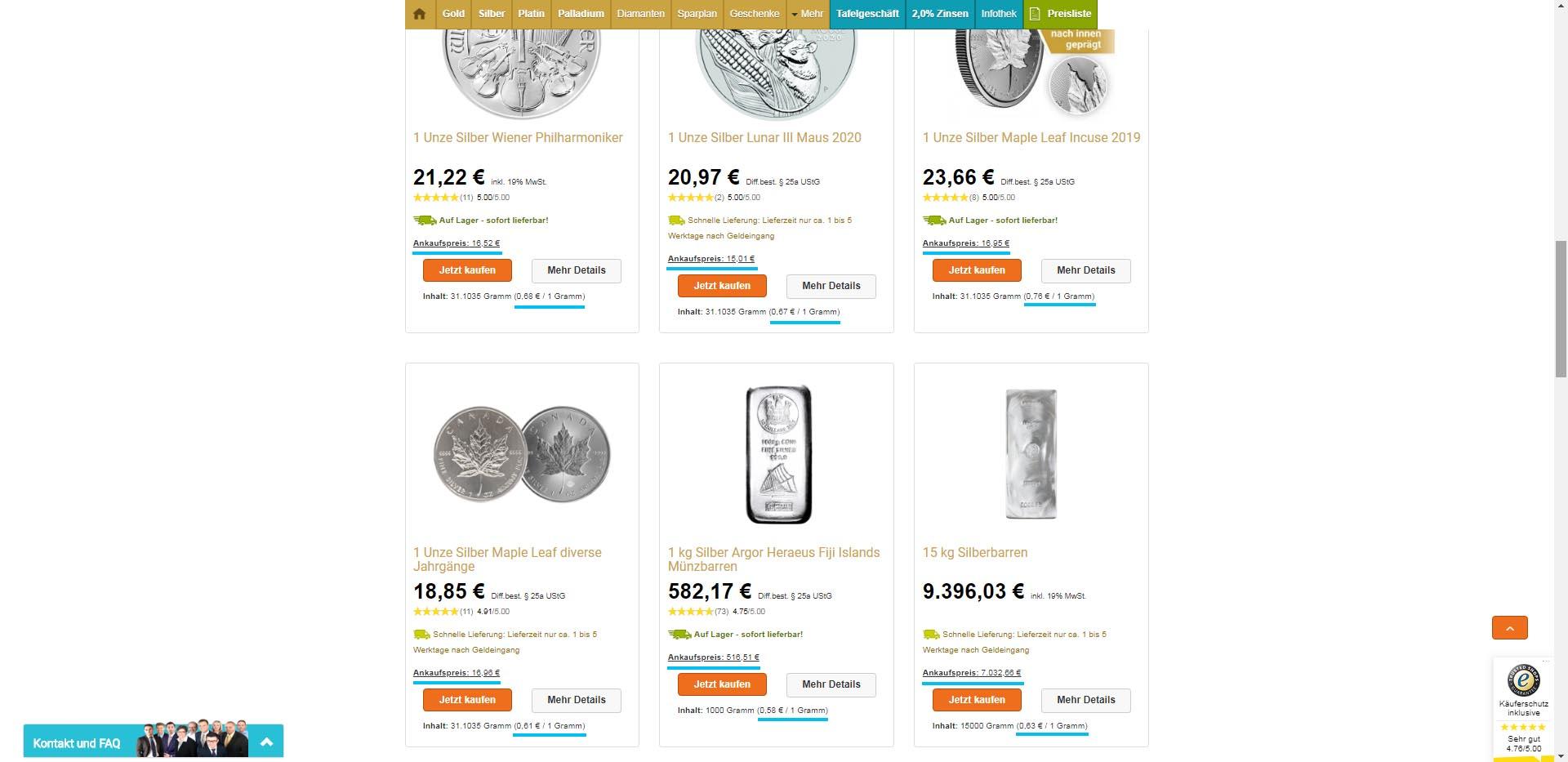 Buy-back price shown at GoldSilberShop
