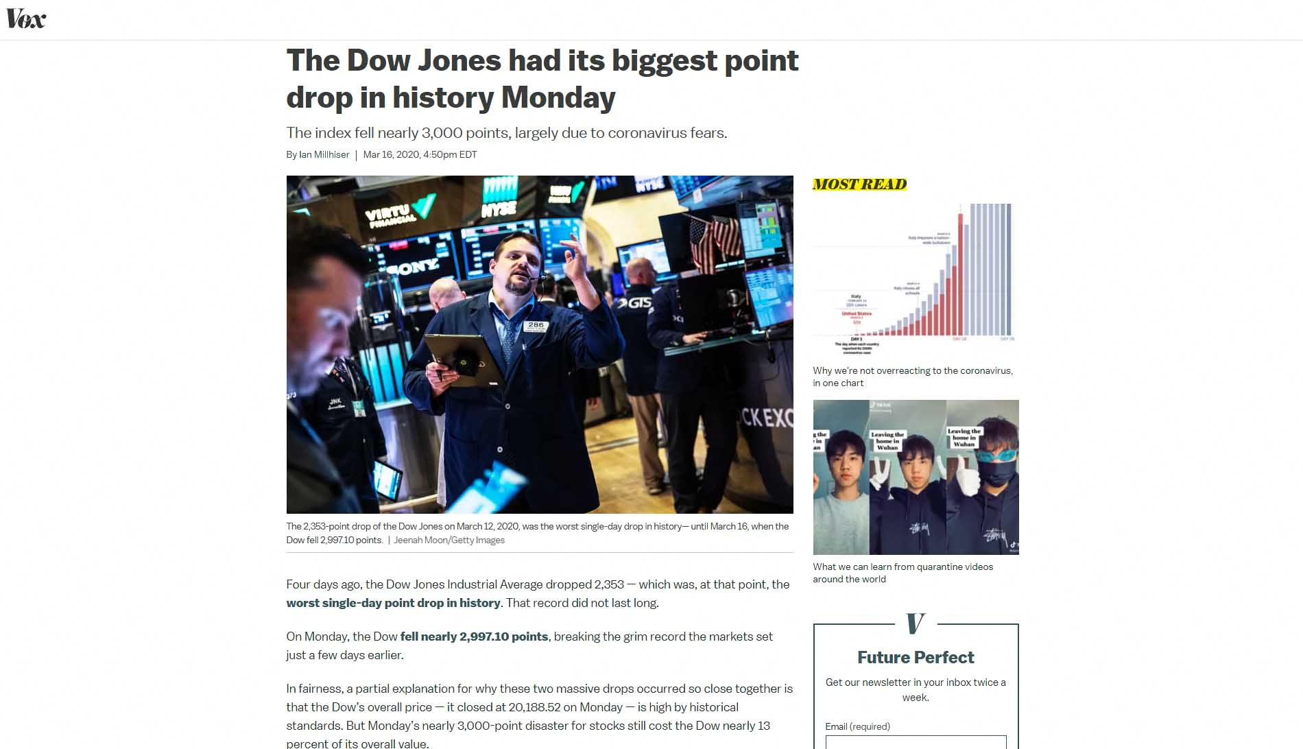 The Dow Jones had its biggest point drop in history 2020