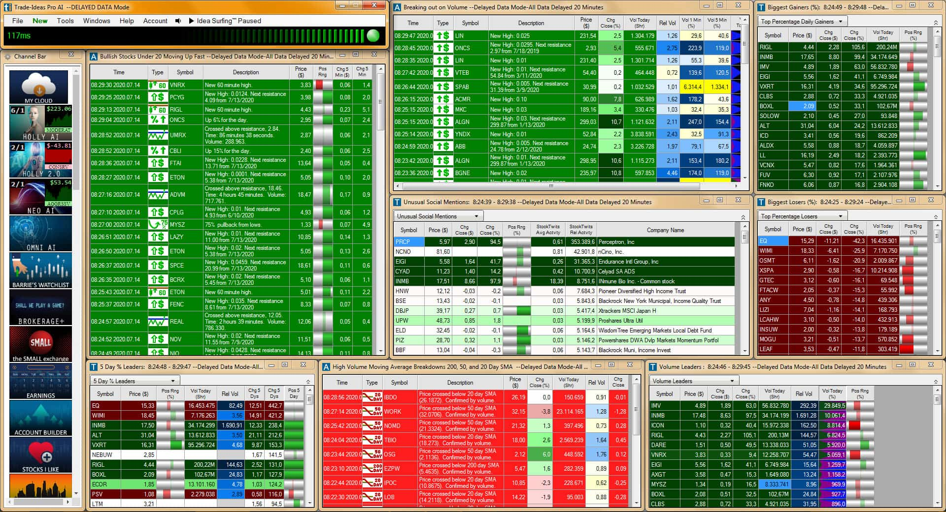 Screenshot of Trade Ideas stock scanner